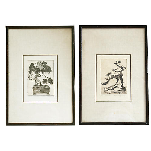 Montgomery Bonsai Etchings Linen Mat S/2