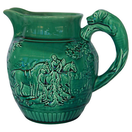 Wedgwood Majolica Hunting Scene Pitcher