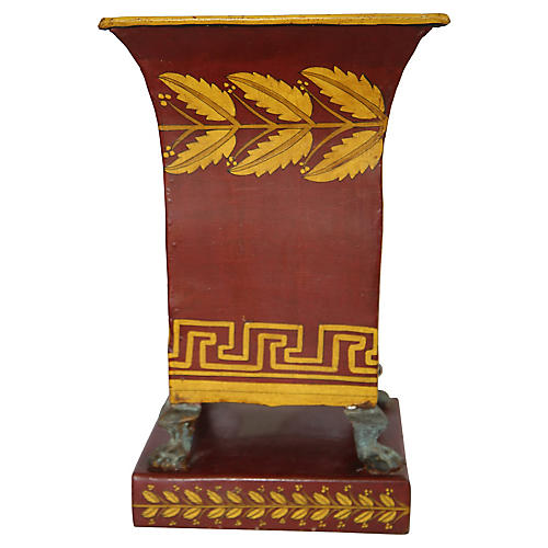Hand-Painted Tole Urn w/ Footed Base