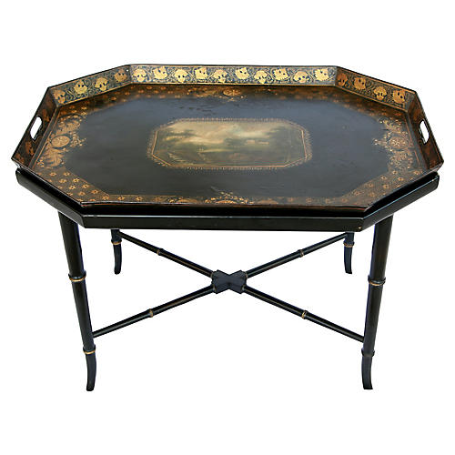 Tray Table w/ Scenic Painting