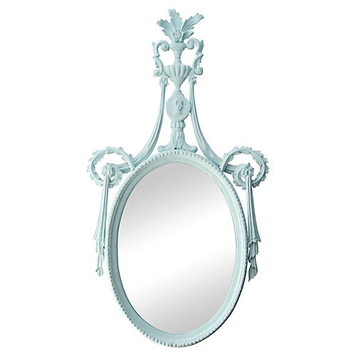 Italian Pale Blue Hand-Carved Mirror