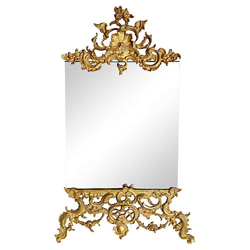 French Easel Framed Brass Mirror