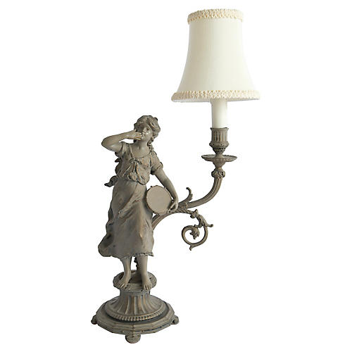 European Cast Figurine Lamp