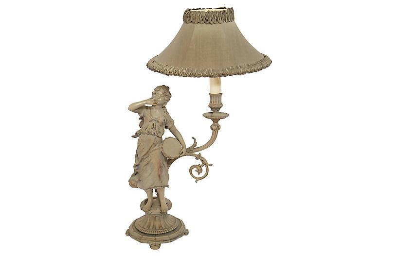 Hand-Painted Cast Figurine Lamp