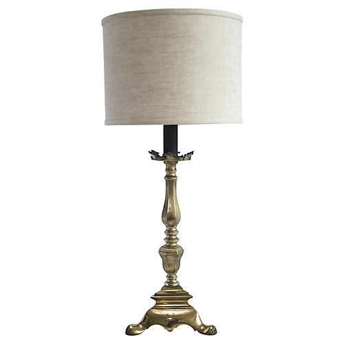 Brass Candlestick Lamp/Linen Shade