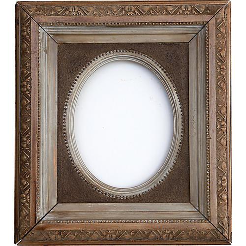 Victorian Framed Mirror W/ Oval Insert