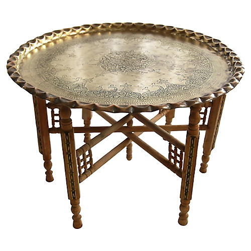 Moroccan Brass Tray-Top Coffee Table