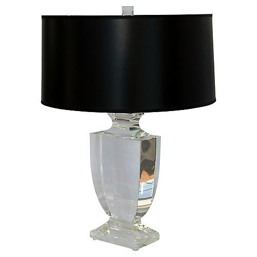 Contemporary Crystal Lamp w/ Black Shade