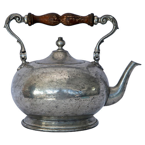 Italian Pewter Teapot / Wood Handle