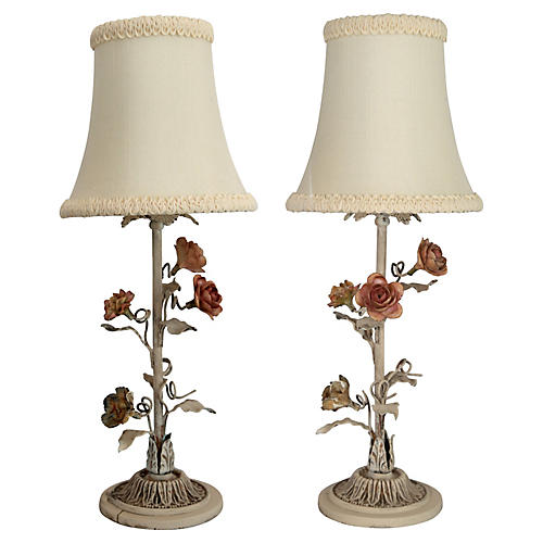 Italian Tole Table Lamps, Pair