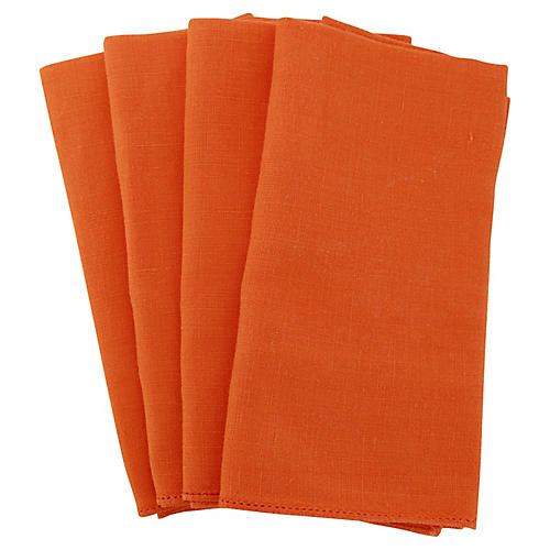 Orange Linen Napkins, S/4