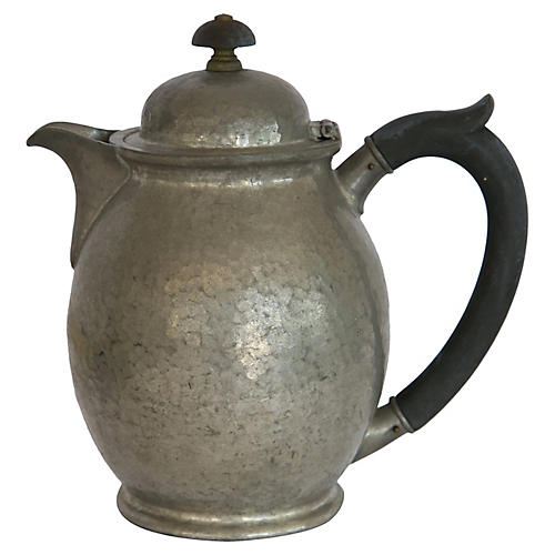 Hammered Pewter Teapot w/ Wood Handle