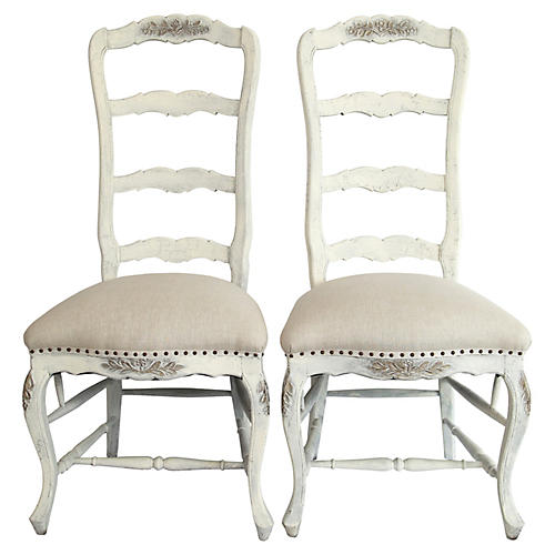Italian Ladderback Chairs, Pair