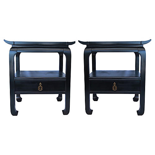 Kent Coffey Ebony Side Tables, Pair