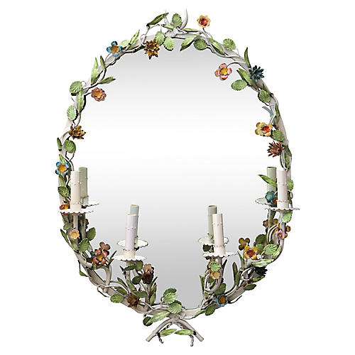 Hand-Painted Floral Sconce Mirror