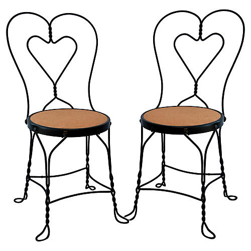 Ice Cream Parlor Chairs, Pair