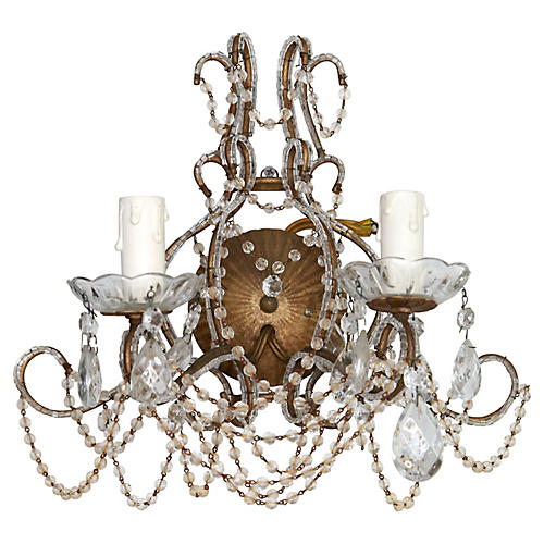 Beaded Crystal Sconce