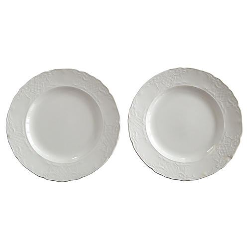 English Ironstone Bread Plates, Pair