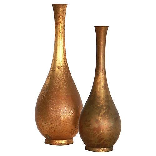 Goldleaf Japanese Bronze Bud Vases, S/2