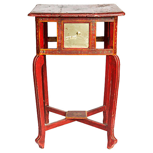 Handpainted Red Table/Glass Panels