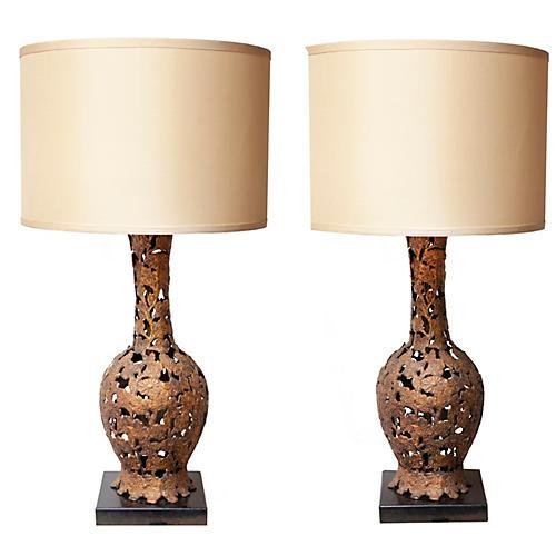 Japanese Bronze Lamps, pr