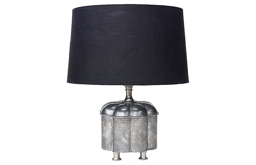 Footed Pewter Lamp w/ Linen Shade