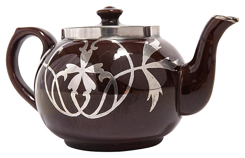 English Teapot/Sterling Overlay