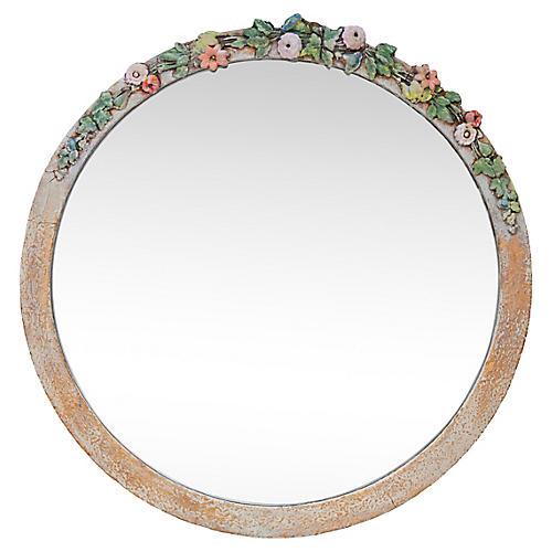 Round Mirror w/ Flowers