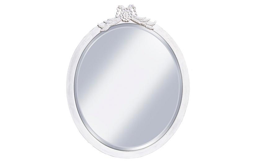 Beveled Oval Mirror w/ Carved Peplum