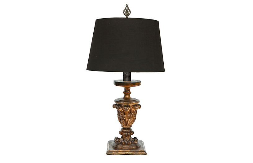 French Table Lamp/Black Linen Shade