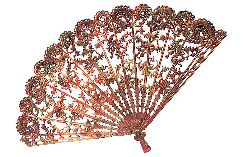 Hand painted Mid Century Lacy Wall Fan