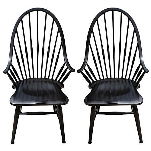 Mid Century Ebony Windsor Chairs, Pair