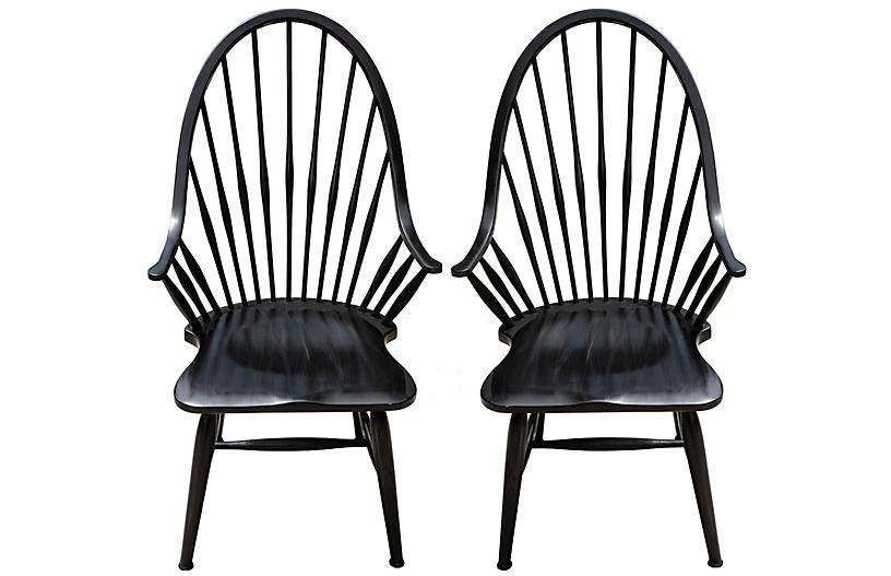 Mid Century Ebony Windsor Chairs, Pair