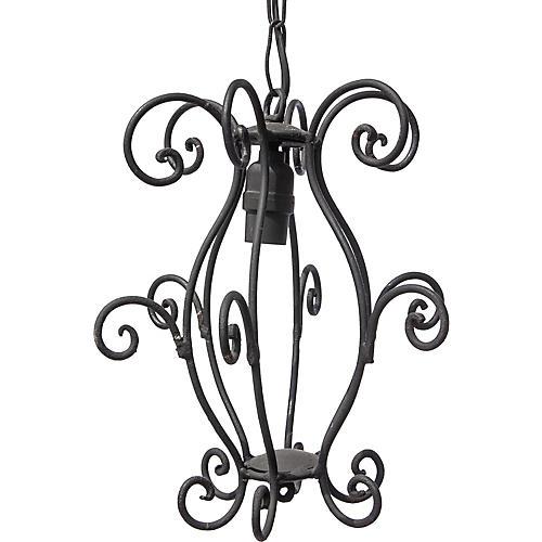 Curly Iron Lantern Fixture
