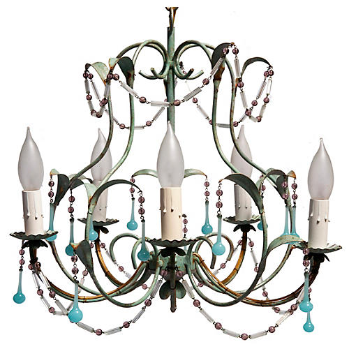 Mid-century Pastel Hollywood Chandelier