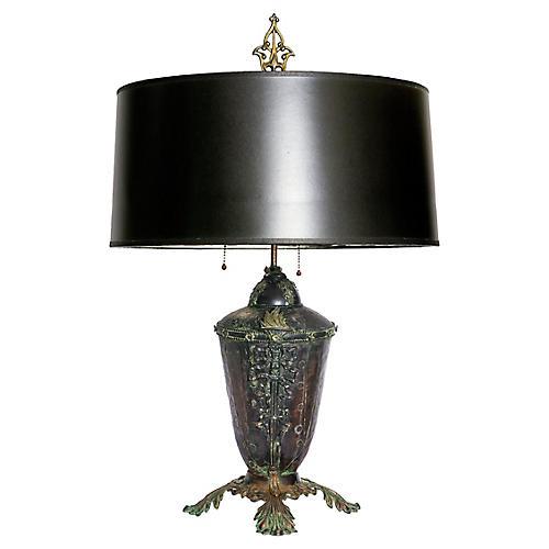 Antique Iron & Bronze Lamp