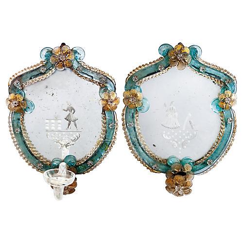 Pair of Venetian Glass Sconces
