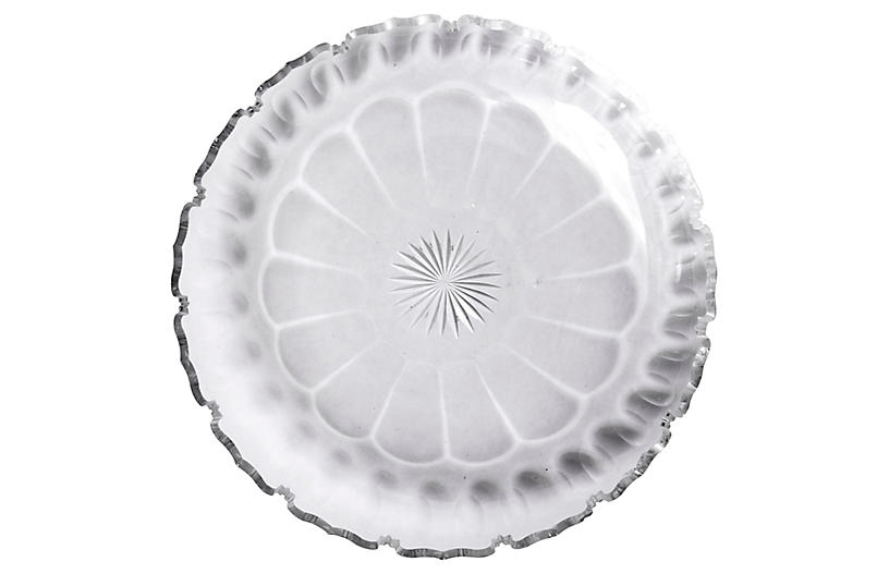 Scalloped Edged Cut Crystal Round Dish