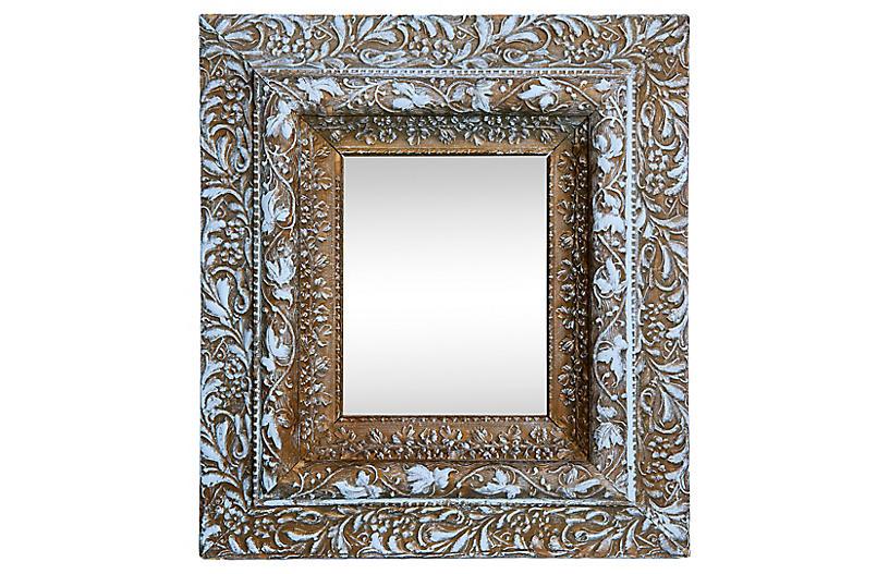Victorian Age Gold/Lt Blue Accent Mirror