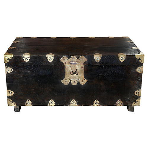 Asian Wood Trunk w/Tooled Brass Hardware
