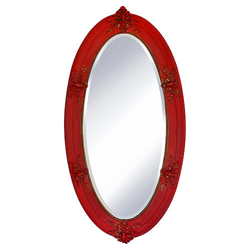 Victorian Oval Scarlet Red & Gold Mirror