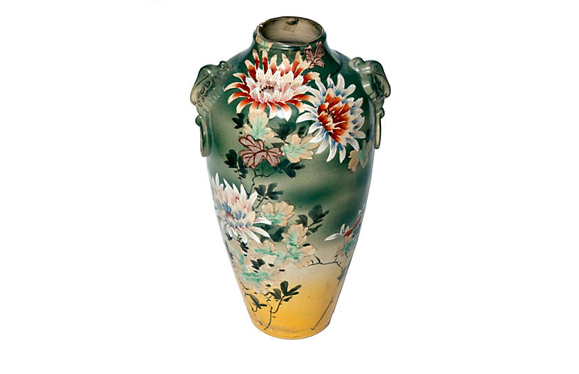 Hand Painted Tall Asian Vase