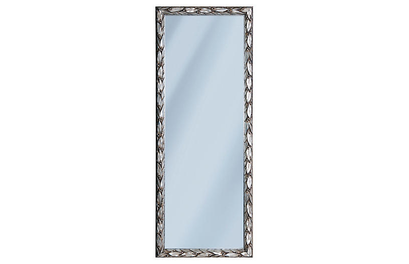 Italian Pewter Leaf Mirror