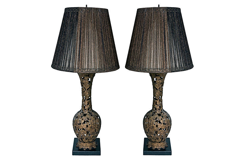 Japanese Bronze Lamps on Soapstone