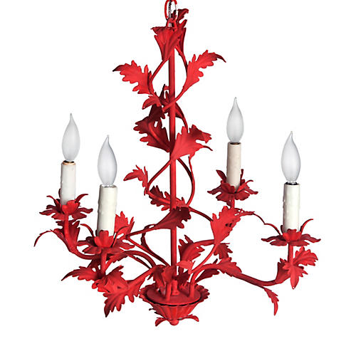 Mid-century Italian Red Chandelier