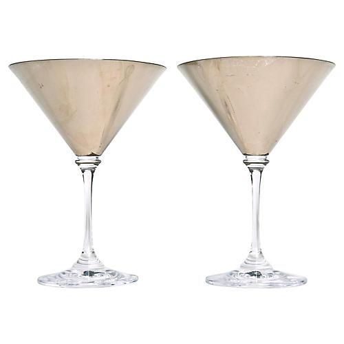 White Gold Leaf Martini Glasses, Pair