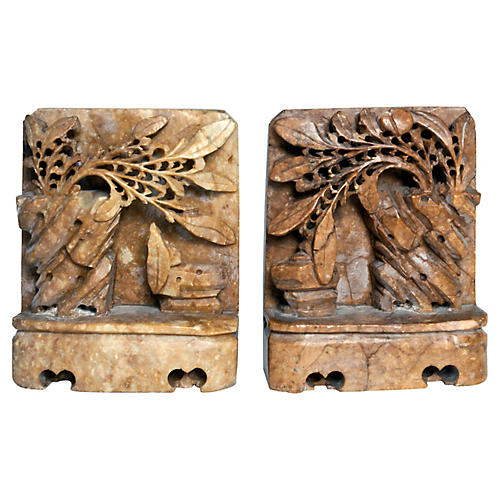 Handcarved Soapstone Bookends