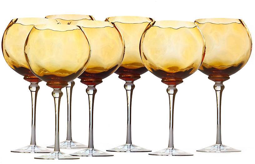 Hand Blown Bubble Wine Glassware, Set/7