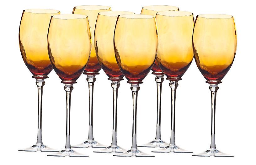 Handblown Amber White-Wine Glasses, S/8