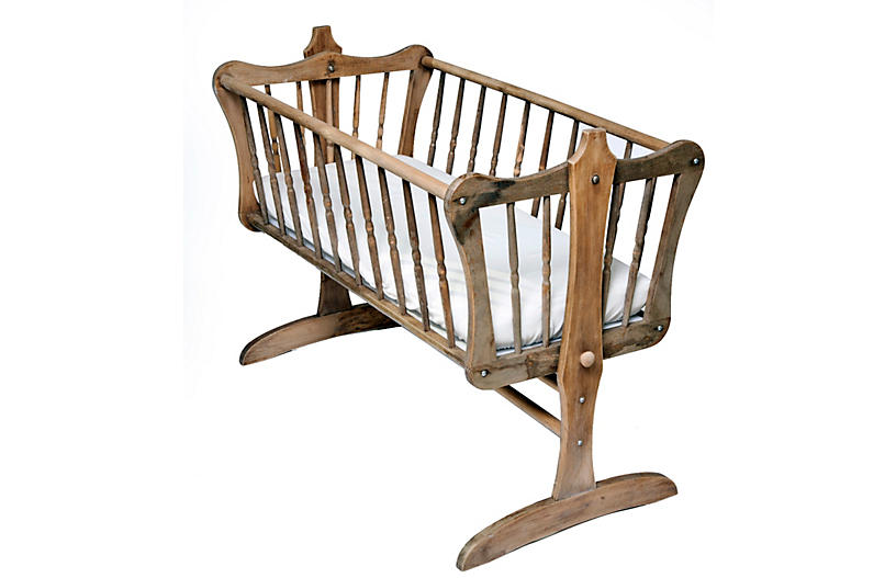 vintage cradle with custom mattress